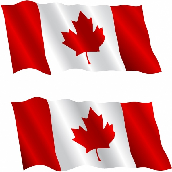 599x600 Canadian Flag Flying In The Wind Free Vector In Adobe Illustrator