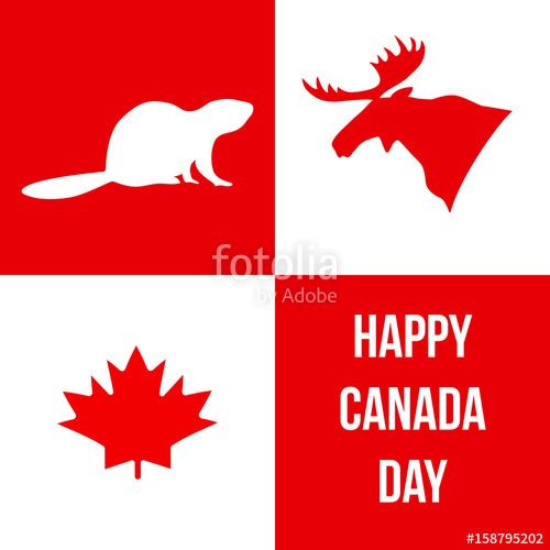 500x500 Happy Canada Day. Silhouettes Of Canadian Symbols Moose, Beaver