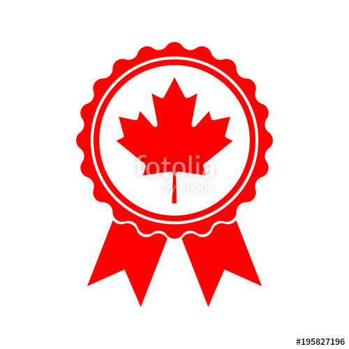 500x500 Icon Maple Leaf Medal. Maple Leaf Vector Illustration. Canada