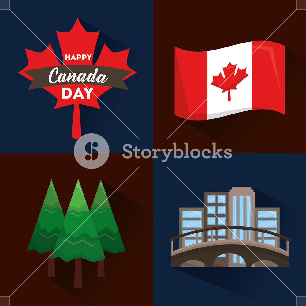 1000x1000 Happy Canada Day Flag Forest Pine Montreal And Maple Leaf Vector