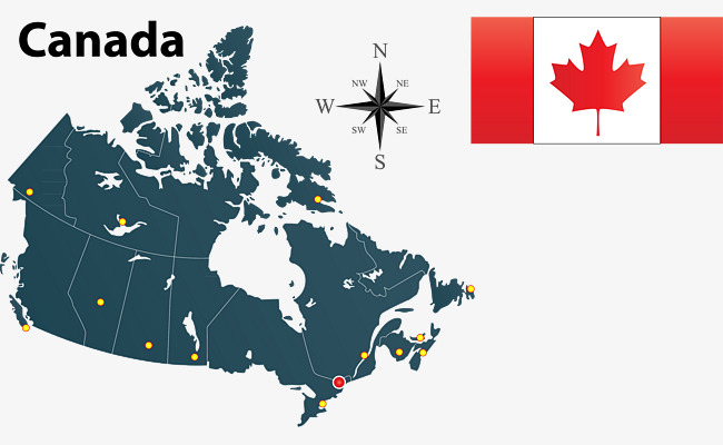 650x400 Canadian Flags Vector Map Compass, Map Vector, Compass Vector