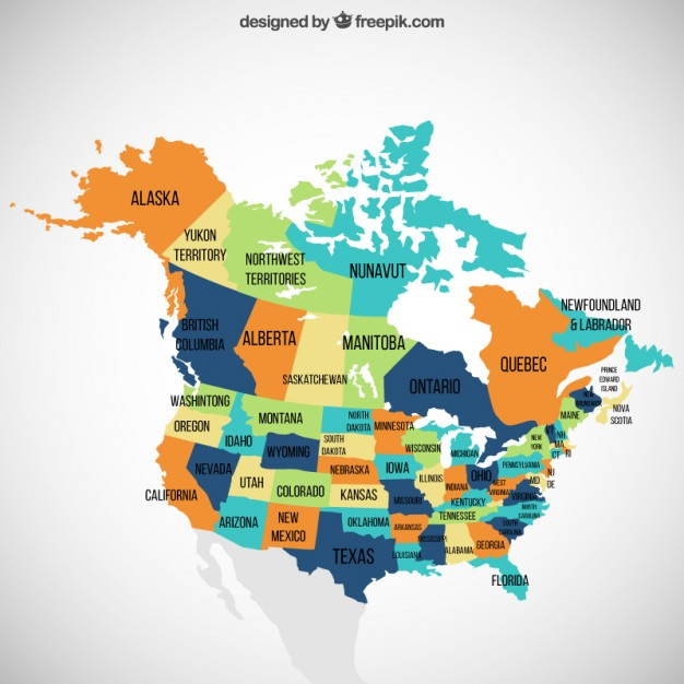 626x626 Usa And Canada Map Vector Free Download
