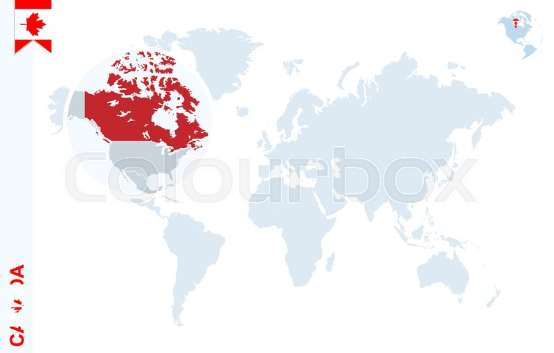 800x510 World Map With Magnifying On Canada. Blue Earth Globe With Canada