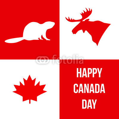 400x400 Happy Canada Day. Silhouettes Of Canadian Symbols Moose, Beaver