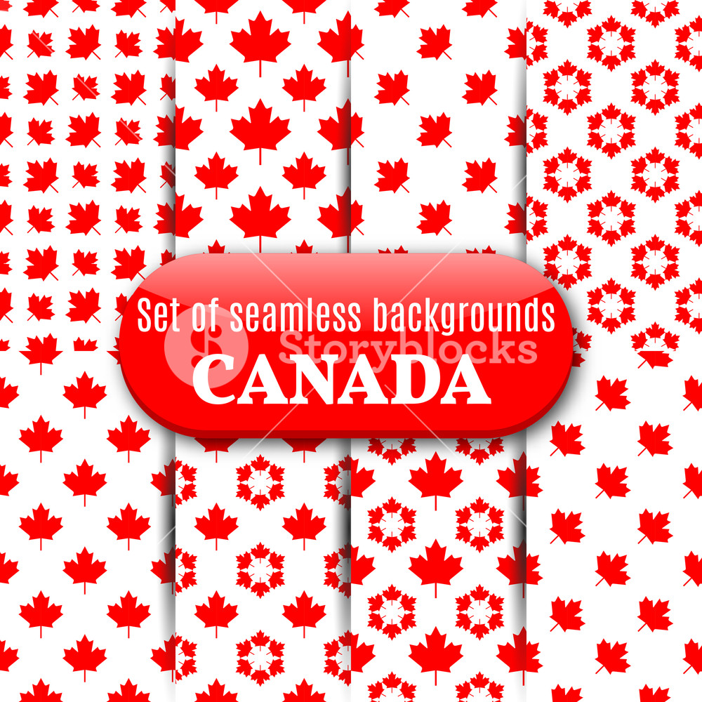1000x1000 Set Of Abstract Canadian Backgrounds. Seamless Pattern From