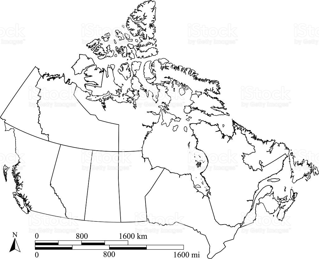 1024x834 Canada Map Outline Vector With Scales In A Blank Design