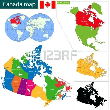 450x450 Colorful Map With Provinces And Capital Cities Vector Canada