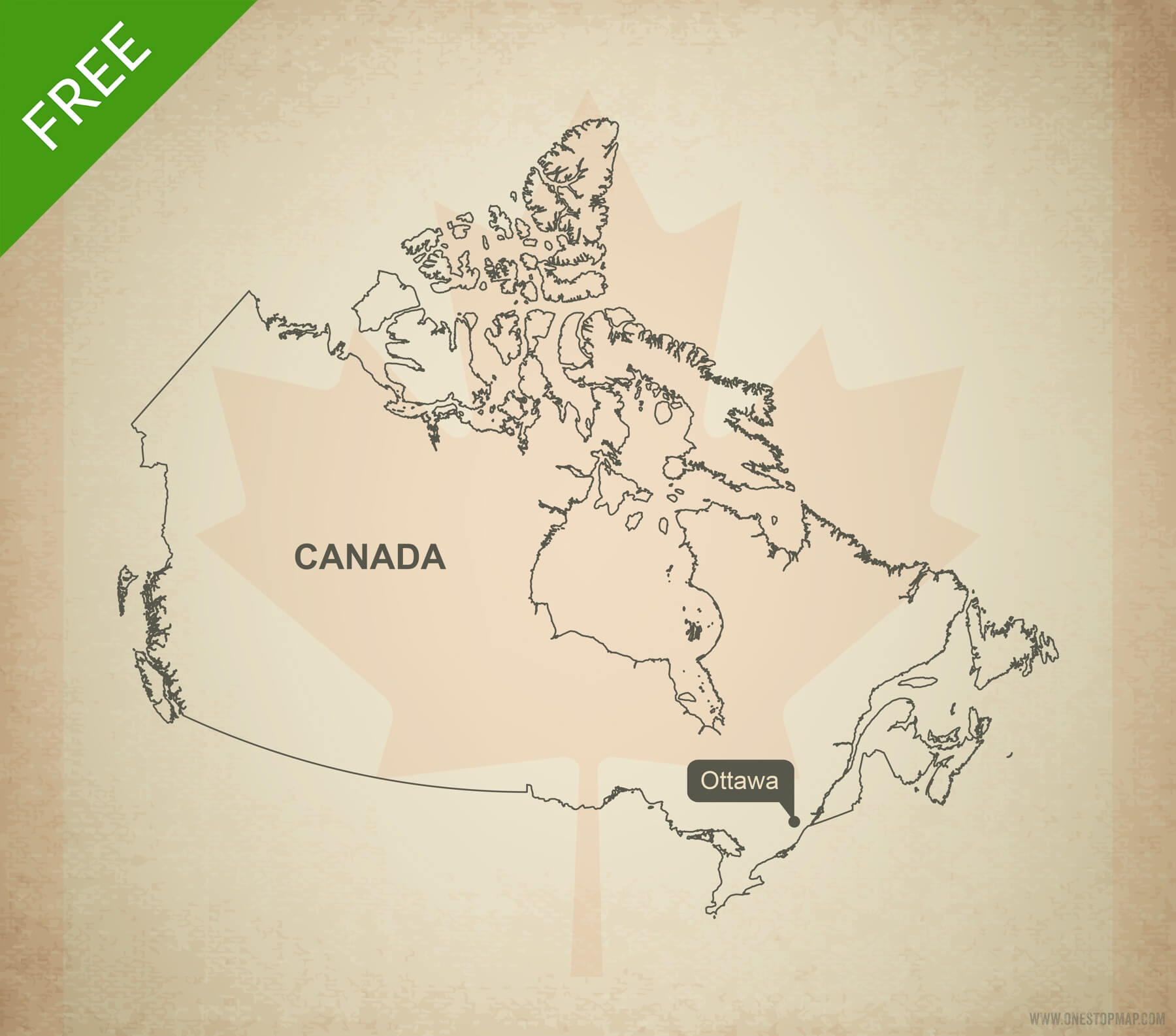 1800x1586 Free Vector Map Of Canada Outline One Stop Map