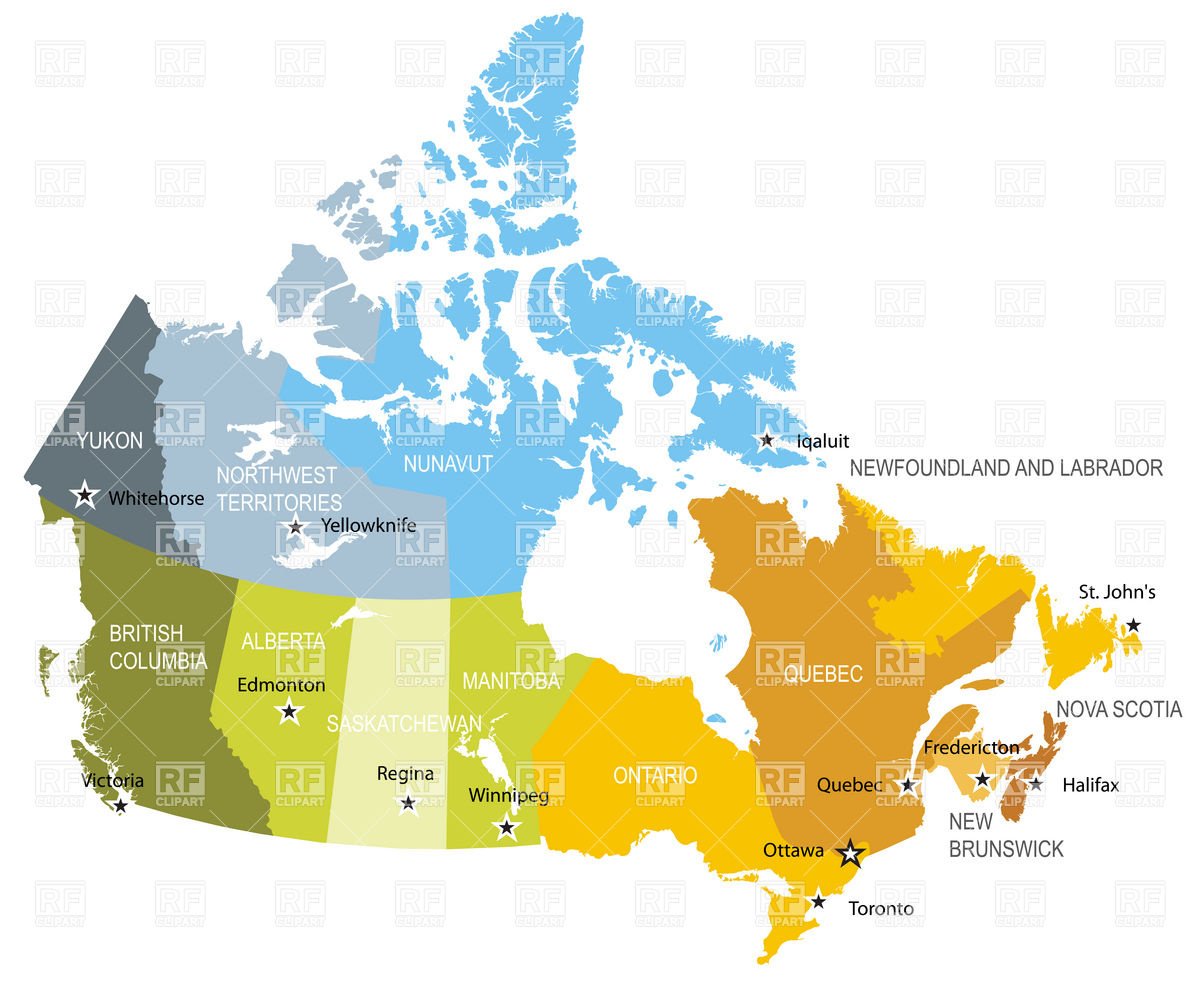 1200x982 Map Of Provinces And Territories Of Canada Vector Image Vector