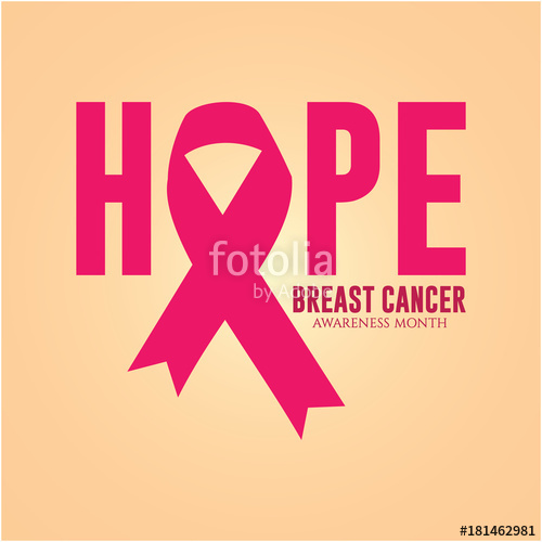 500x500 Hope Breast Cancer Awareness Month Logo Vector Template Design