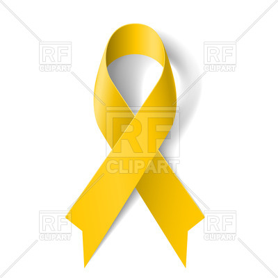 400x400 Yellow Awareness Ribbon On White Background Vector Image Vector