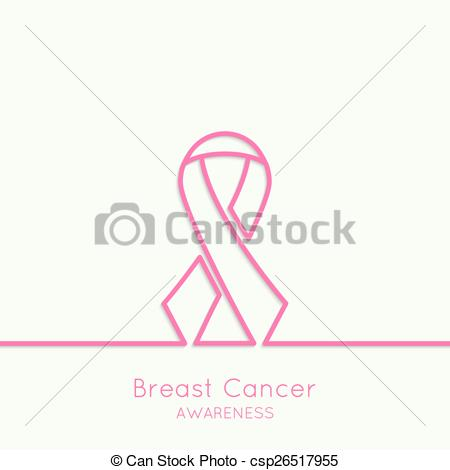 450x470 Breast Cancer Awareness Ribbon. Vector Icons. Pink. Outline