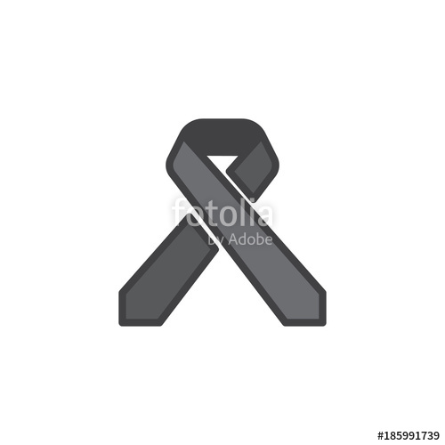 500x500 Cancer Awareness Ribbon Filled Outline Icon, Line Vector Sign