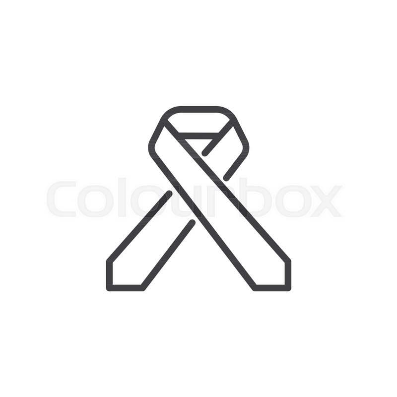 800x800 Cancer Awareness Ribbon Line Icon, Outline Vector Sign, Linear