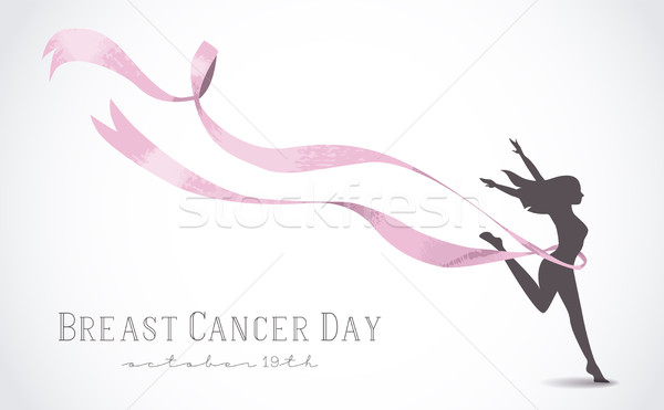 600x371 Girl Silhouette With Pink Ribbon For Breast Cancer Vector