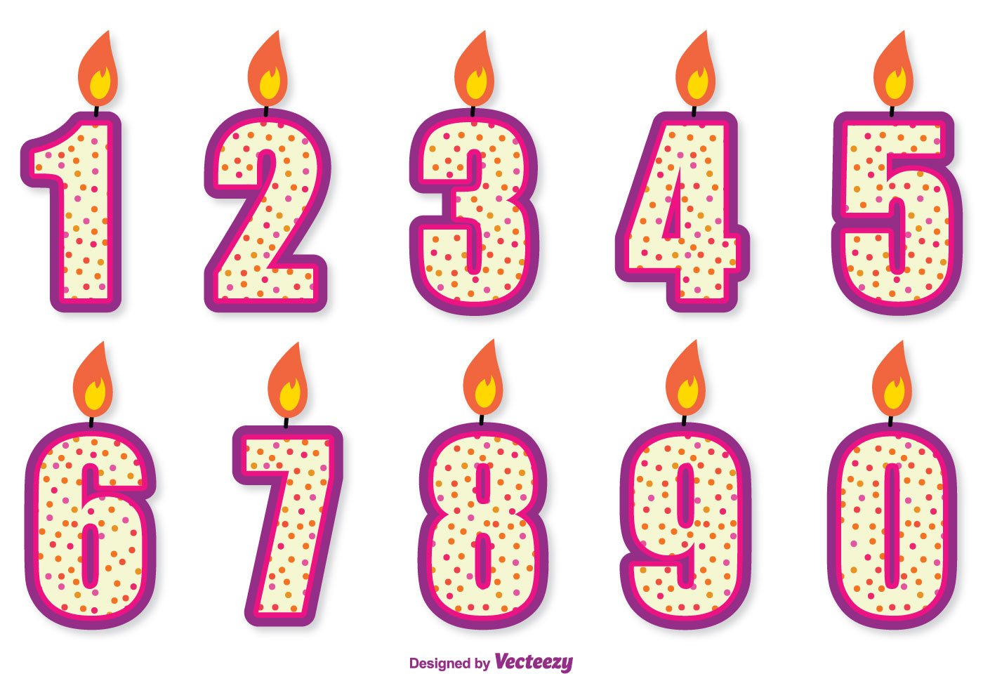 1400x980 Cute Birthday Number Candle Set