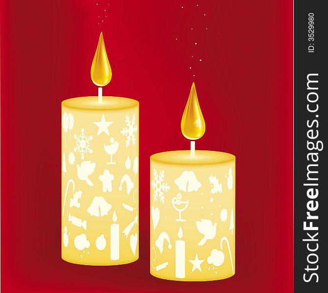 671x600 Xmas Candles (Vector)