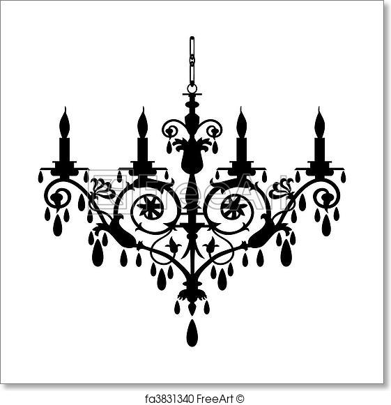561x581 Free Art Print Of Chandelier Vector Illustration. Baroque