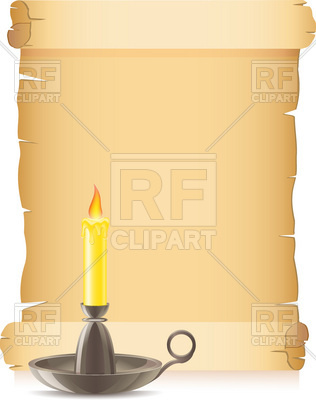 316x400 Old Paper Scroll And Burning Candle In A Candlestick Vector Image