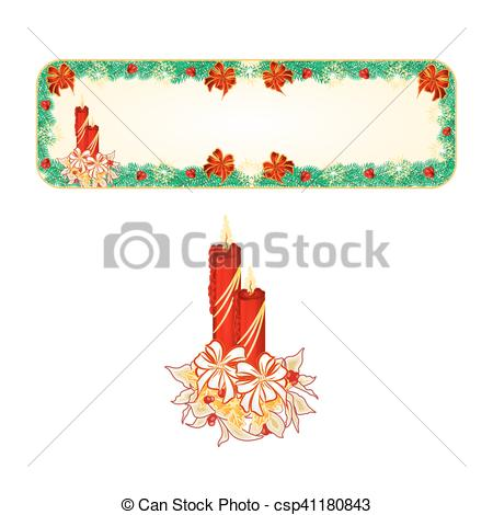 450x470 Banner Christmas With A Candlestick Vector.eps. Banner... Eps