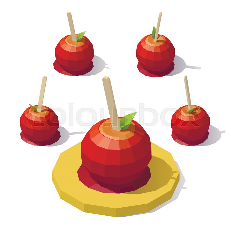800x800 Vector Isometric Low Poly Caramel Apple. Candy Apple From