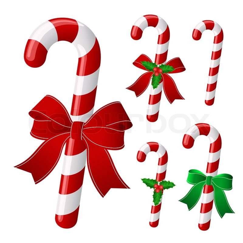 800x800 Candy Cane Collection With Ribbon And Holly . Vector Stock