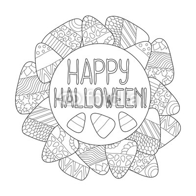 400x400 Candy Corn Vector Coloring Page. Happy Halloween Greeting Card