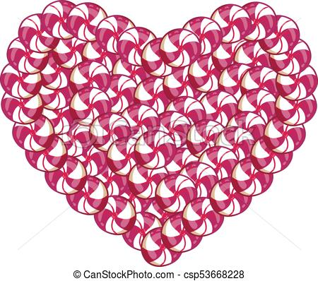 450x398 Candy Heart Made Of Pink And White Lollipops And Sweets Isolated