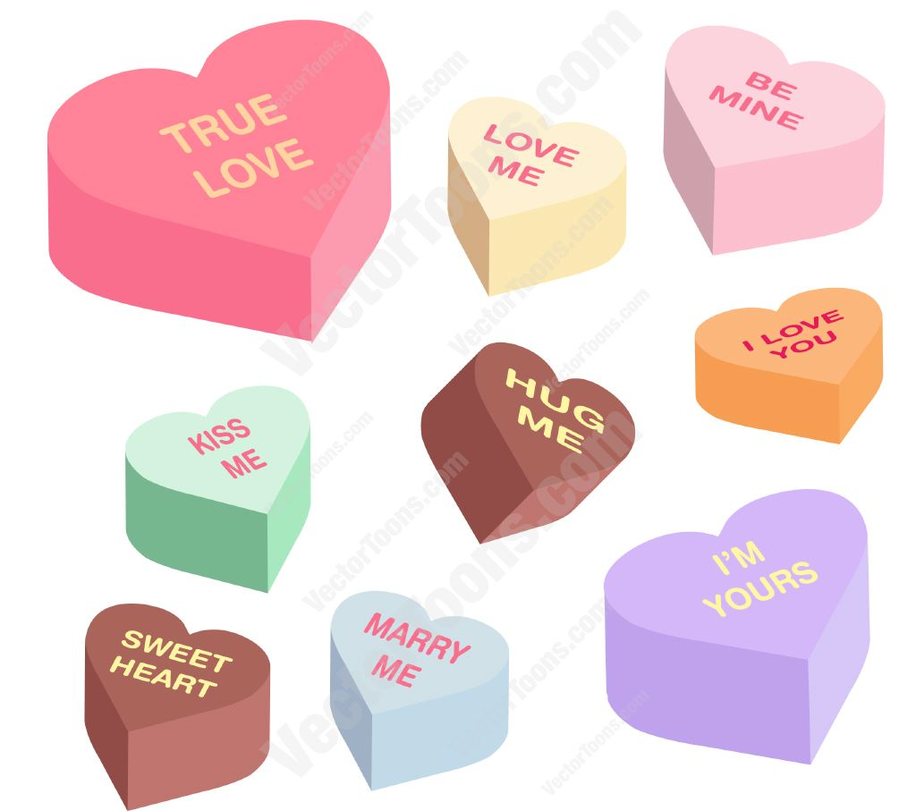 1024x907 Heart Shaped Candies With Words On Them Clipart By Vector Toons