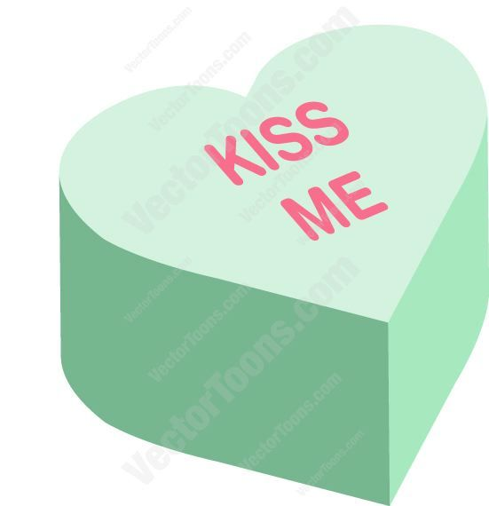 551x570 Kiss Me Heart Shaped Candy Vector Illustrations