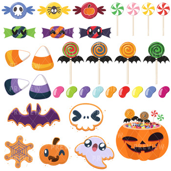350x350 Halloween Candy Clipart Instant Download Vector Art By Lime And