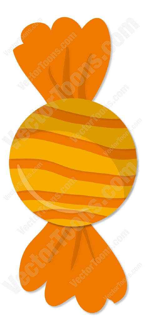 468x1024 Piece Of Candy Wrapped In An Orange Striped Wrapper Clipart By