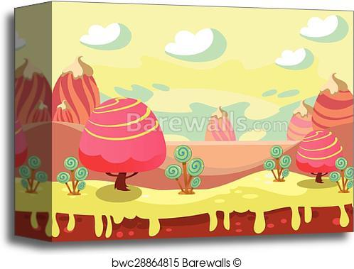 498x379 Canvas Print Of Candy Land Vector Barewalls Posters Amp Prints