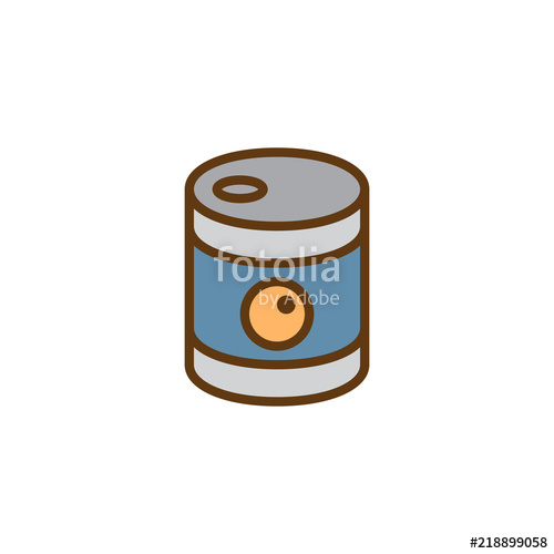 500x500 Canned Food Filled Outline Icon, Line Vector Sign, Linear Colorful