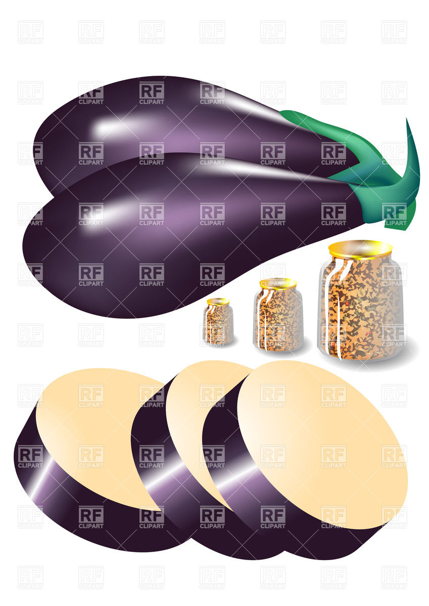 849x1200 Eggplant And Jars Of Canned Food Vector Image Vector Artwork Of