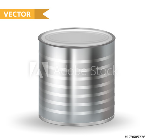500x477 Realistic Metallic Tin Cans. 3d Tins Containers. Isolated On White