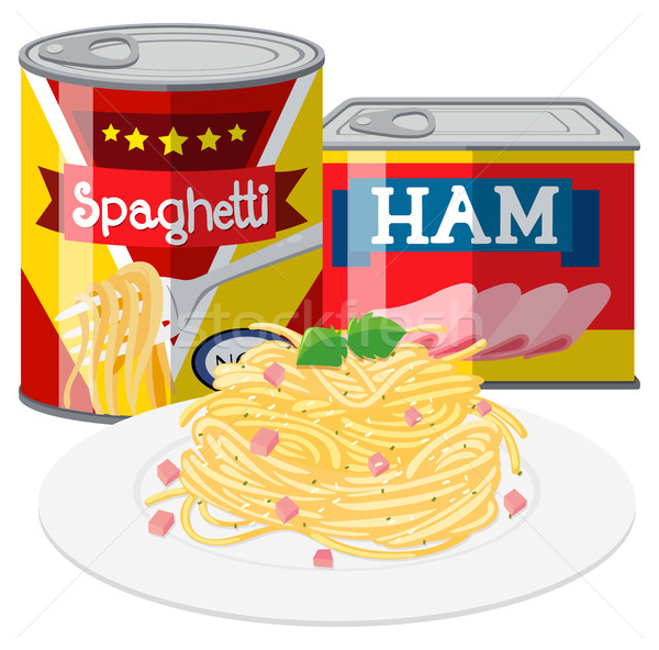600x592 Spaghetti And Ham In Canned Food Vector Illustration Daniel Cole