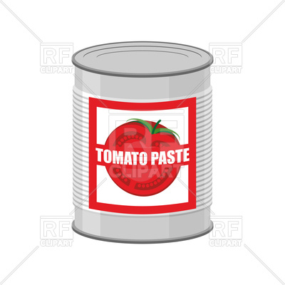 400x400 Tomato Paste Tin Can. Canned Food With Tomatoes Vector Image
