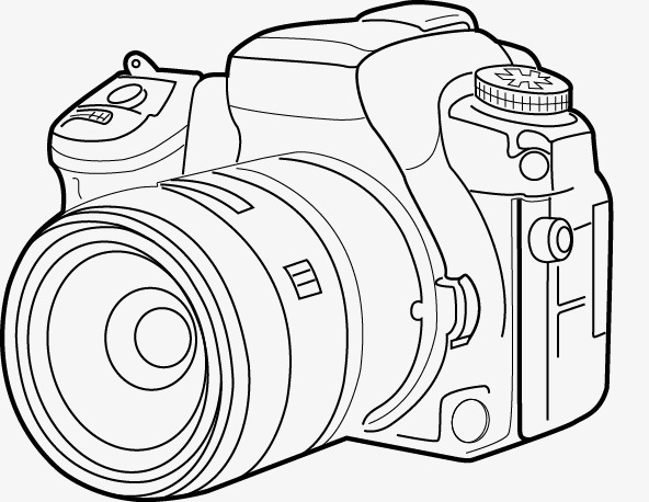 592x458 Vector Line Drawing Camera, Line Clipart, Camera Clipart, Line Png