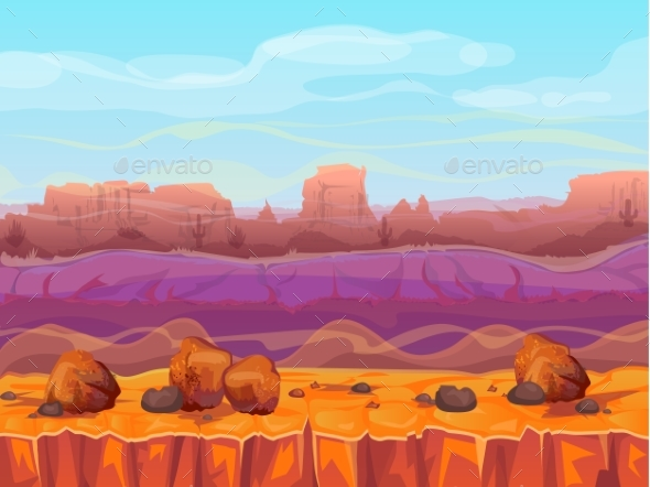590x442 Desert Canyon Landscape Vector Illustration By Vectorpouch