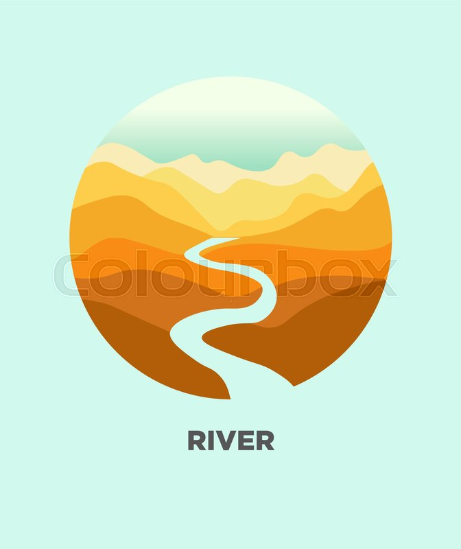 672x800 Desert River In Canyon Mountain Nature Landscape. Vector Isolated