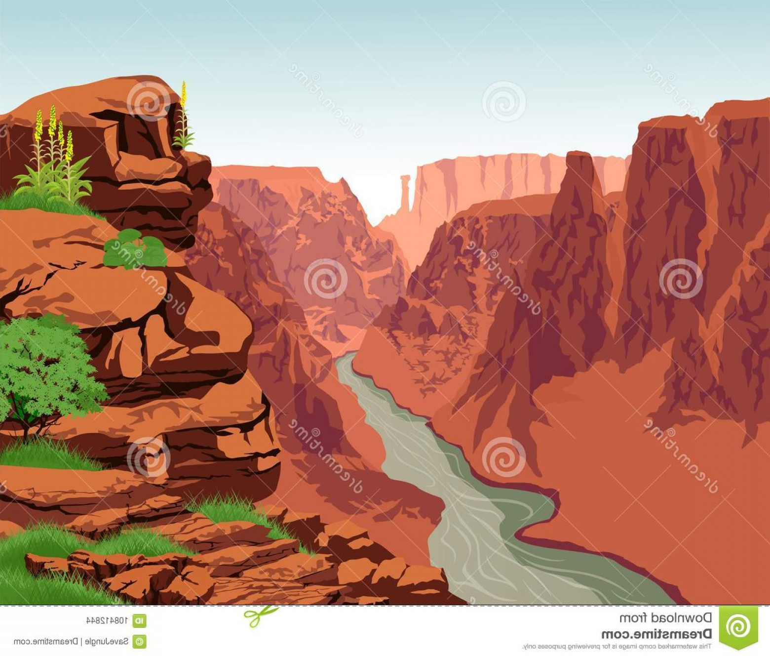 1560x1332 Vector Colorado River Grand Canyon National Park Illustration