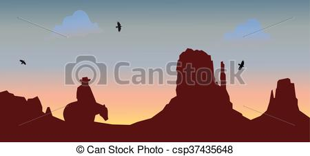 450x226 Wild West Canyon. Vector Illustration Of Canyon.