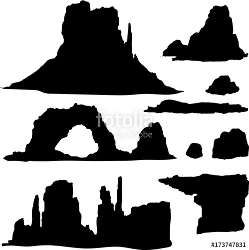 499x500 Hand Drawn Vector Silhouette Set With Canyon And Stones Of Wild
