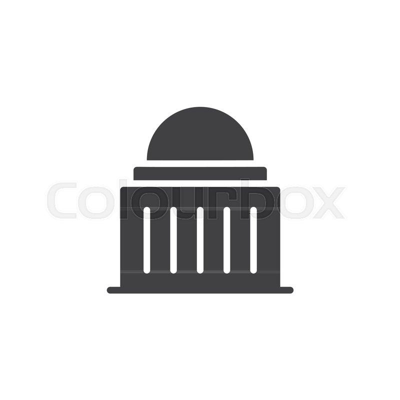 800x800 Capitol Building Icon Vector, Filled Flat Sign, Solid Pictogram