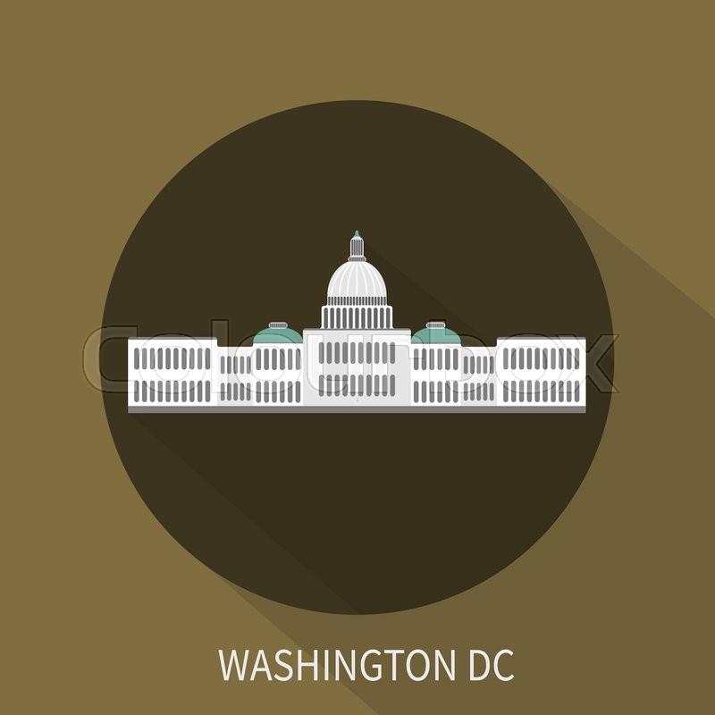 800x800 Capitol Building In Washington Dc. Vector Icon. Vector