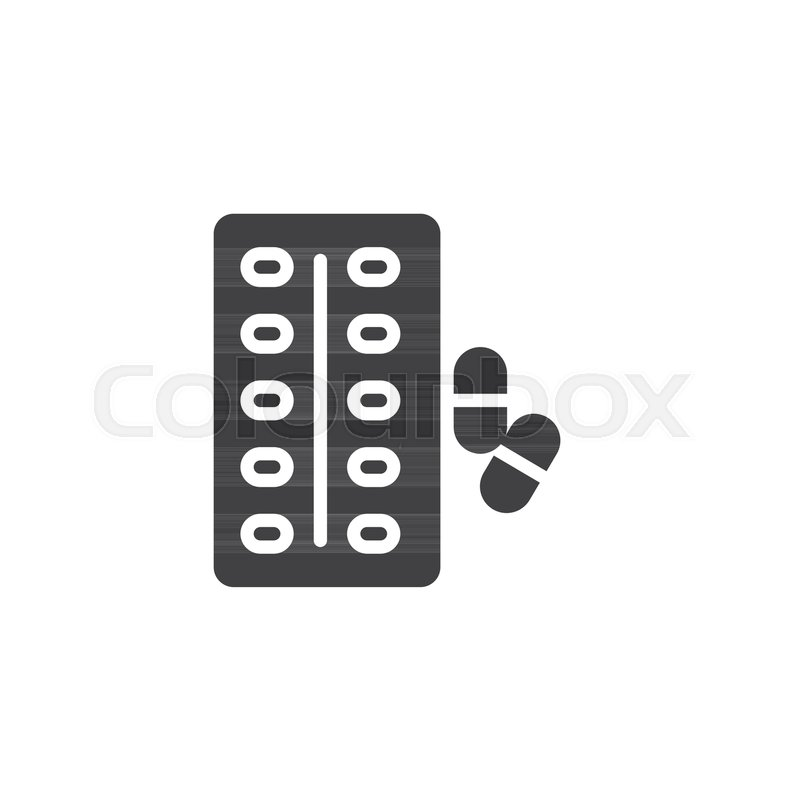 800x800 Blister Pack And Capsule Vector Icon. Filled Flat Sign For Mobile