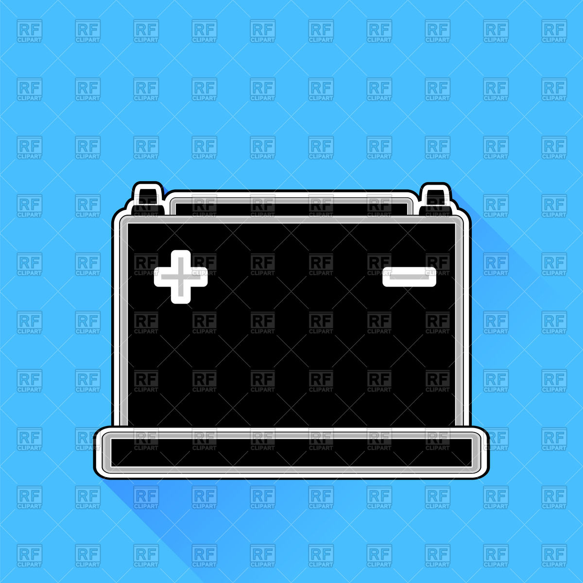 1200x1200 Car Battery Icon On Blue Background Vector Image Vector Artwork