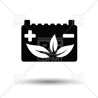 400x400 Car Battery Leaf Icon With Shadow Design Vector Image Vector