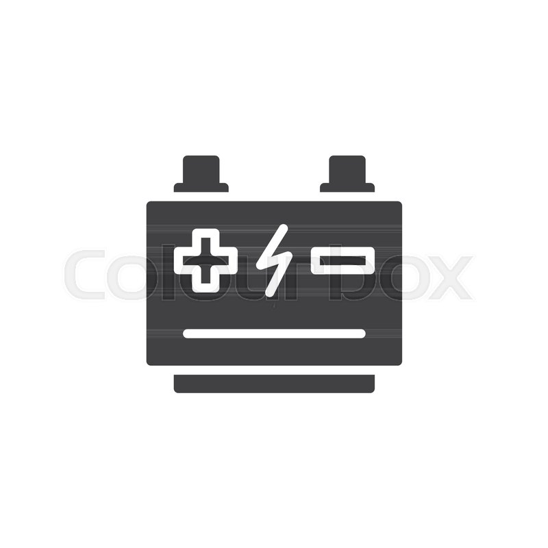 800x800 Car Battery Vector Icon. Filled Flat Sign For Mobile Concept And
